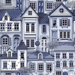 Town house toile blue small