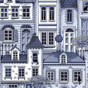 Town house toile blue
