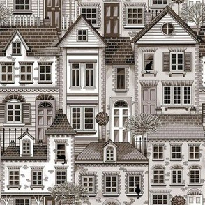 Town house toile brown small