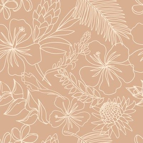 Sketchy floral on tan nude