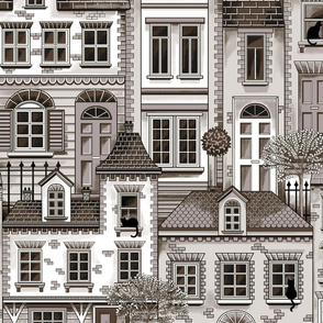 Town house toile brown