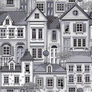 Town house toile grey small