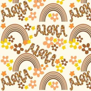 Aloha retro rainbows on cream