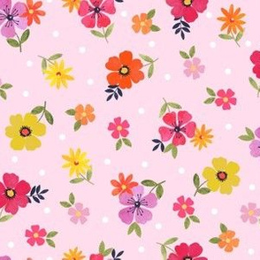Watercolour flowers on pink