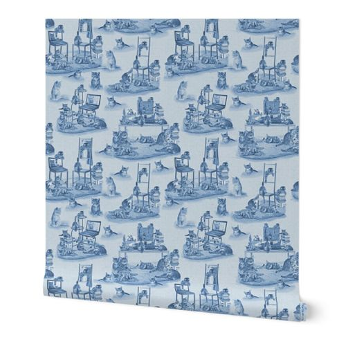 Working from Home two tone Delft Blue