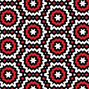 Red, Black and White Geometric Honeycomb Pattern