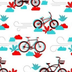 3D bikes - Off the Wall Toile
