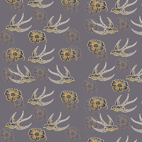 Toile Style Swallows On Grey With Gold Detail