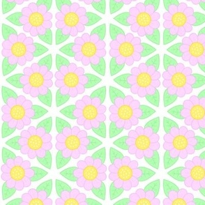 Candy Flower - Pink, Green and Yellow Floral Pattern