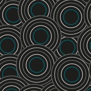 black circles with cyan large