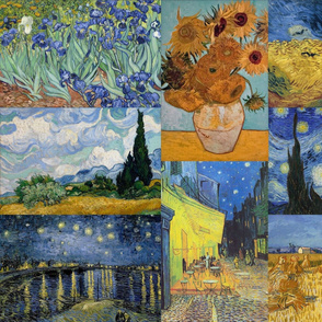 Vincent Van Gogh  Collage - Starry Night and Fields Paintings in blue and yellow