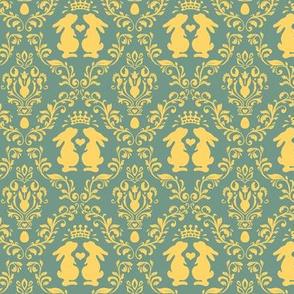 bunny king damask golden yellow on green tiny