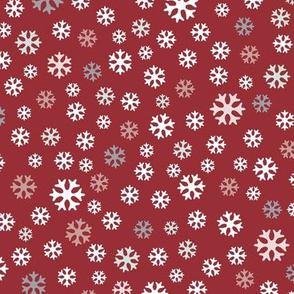 Snowflakes on red – small scale