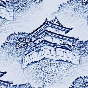 Japanese-Castle Toile de Jouy