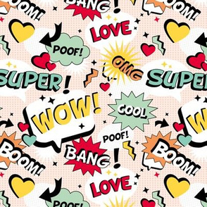 Retro Cartoon text design comic font wow cool love bang yellow mint red