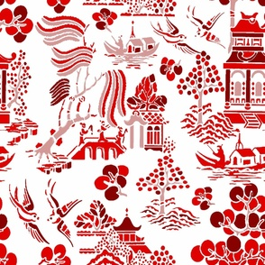 chinoiserie village red