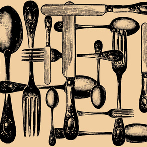 Cutlery Black and Newsprint