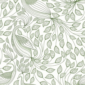 toile peacock 2020 olive green