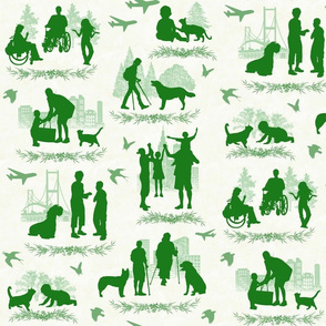 People 'n Pets Green Toile with a Twist