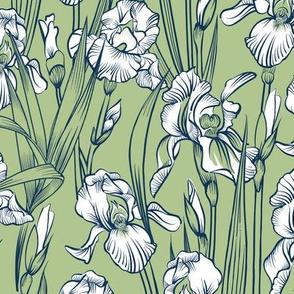 Toile Just Iris Small | Navy+White+Celery Green