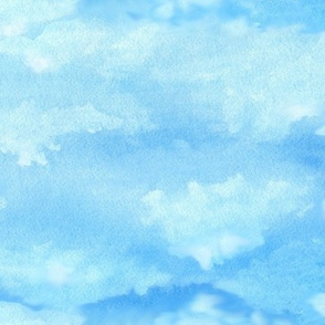 watercolor clouds cloudy sky, large scale, blue and white