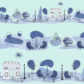 Avenue des Champs-Elysees V Blue on Aqua