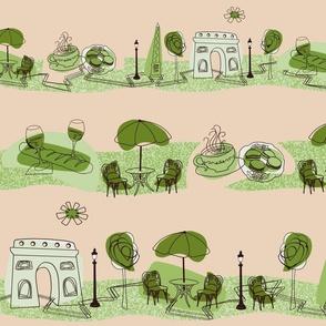 Avenue des Champs-Elysees V Green on Beige