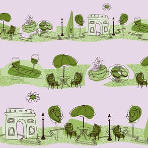 Avenue des Champs-Elysees V Green on Lavender