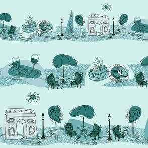 Avenue des Champs-Elysees V Teal on Aqua
