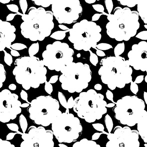 Painted flowers-black and white small scale
