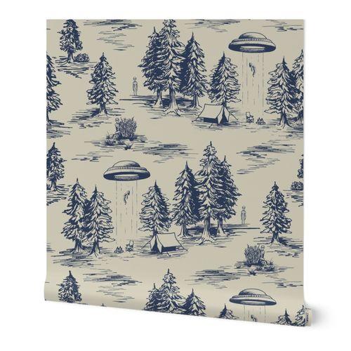 Alien Abduction Toile De Jouy Pattern in Blue