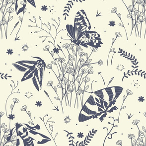 Meadow toile | offwhite blue