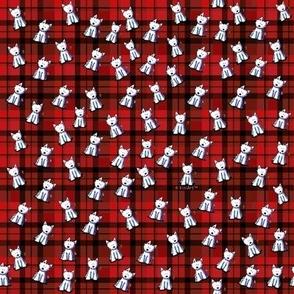 TINY KiniArt WESTIES On Red Plaid