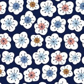 Midcentury flowers in navy