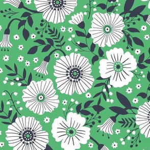 Bold floral in green