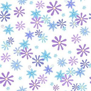 Blue Lilac Flowers on white