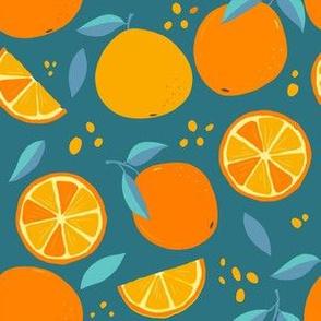 Modern Oranges On GreenBlue