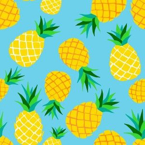 Modern Pineapples on Turquoise Blue