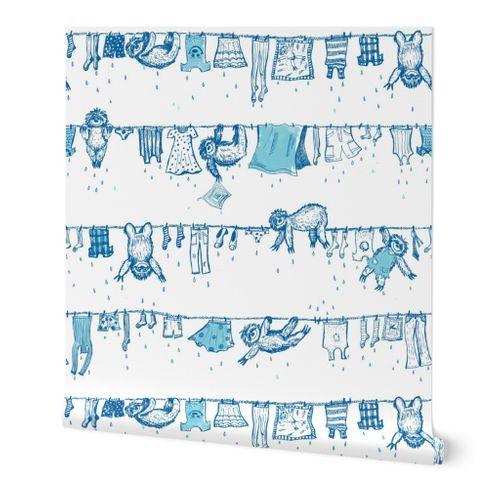 Big sloths washing toile de Jouy blue