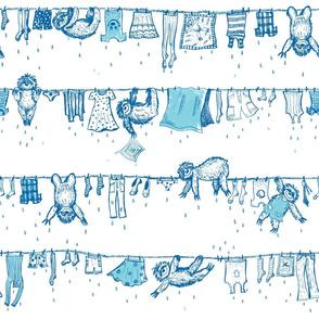 Big sloths washing toile de Jouy blue