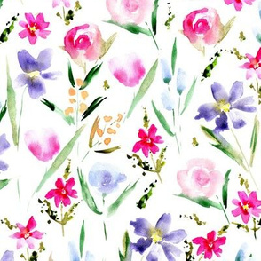 Ethereal midsummer bloom - watercolor wildflowers for modern home decor, bedding, nursery, florals for baby girl