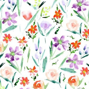 Scarlet and lilac Ethereal wildflowers -watercolor florals 292