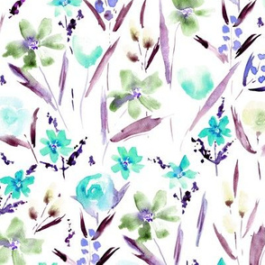Ethereal wildflowers in light blue - watercolor aqua blue florals