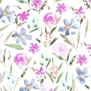 Pastel ethereal wildflowers - watercolor florals in soft shades for modern home decor, bedding, nursery