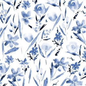 Classic blue ethereal wildflowers -watercolor tonal florals for modern home decor, bedding, nursery