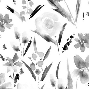 Noir Ethereal wildflowers -watercolor florals 292