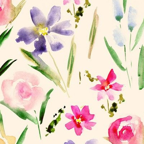 Ethereal midsummer wildflowers on cream -watercolor florals for modern home decor, bedding, nursery