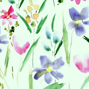 Ethereal wildflowers on mint -watercolor florals p292