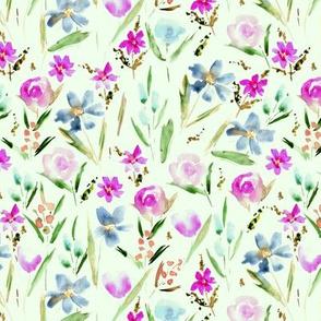 Ethereal magenta wildflowers -watercolor florals 292