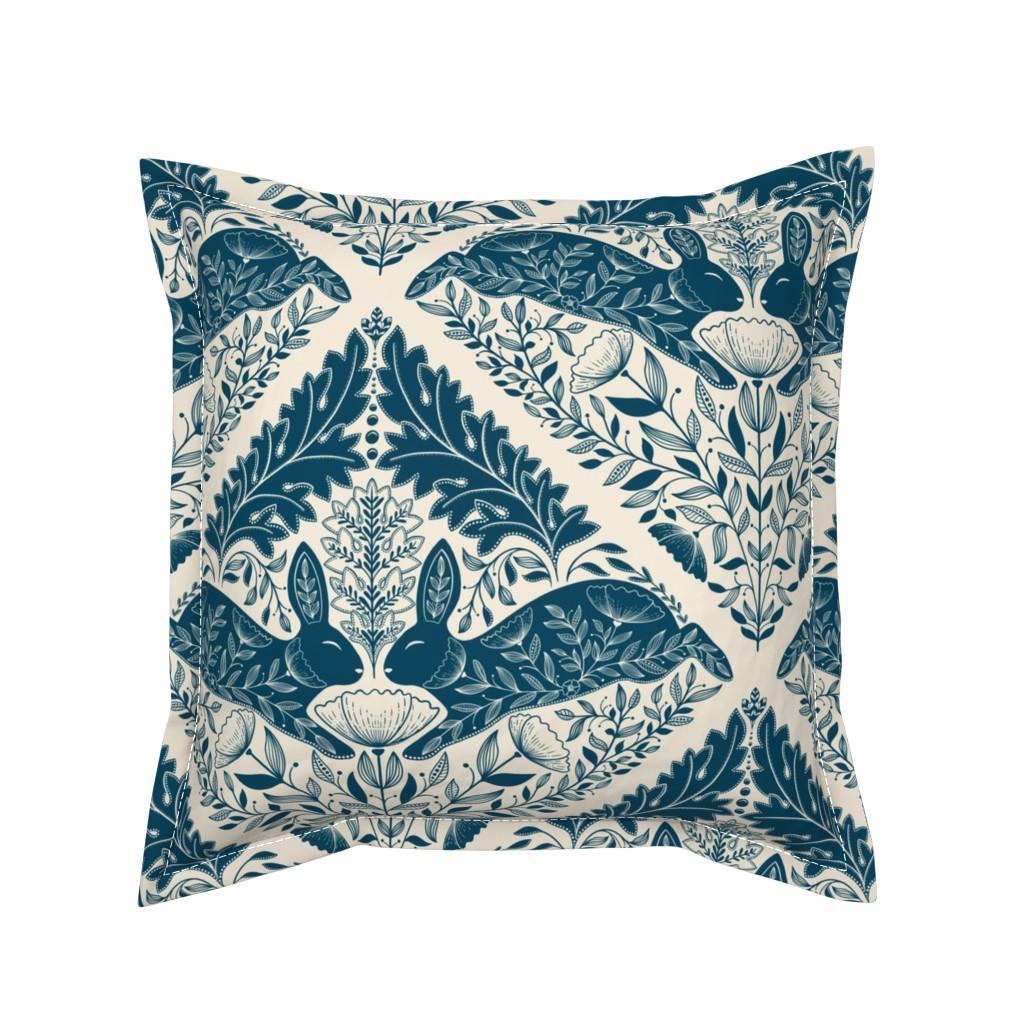 Serama Throw Pillow featuring Secret Garden Bunny Land, Art Nouveau Leaf by ozdebayer